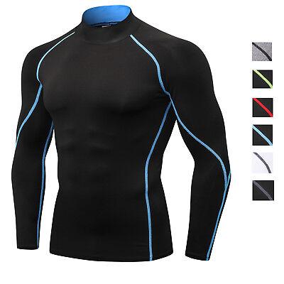 Mens Winter Athletic Shirt Compression Baselayer Gym Mock Neck Long Sleeve Tops