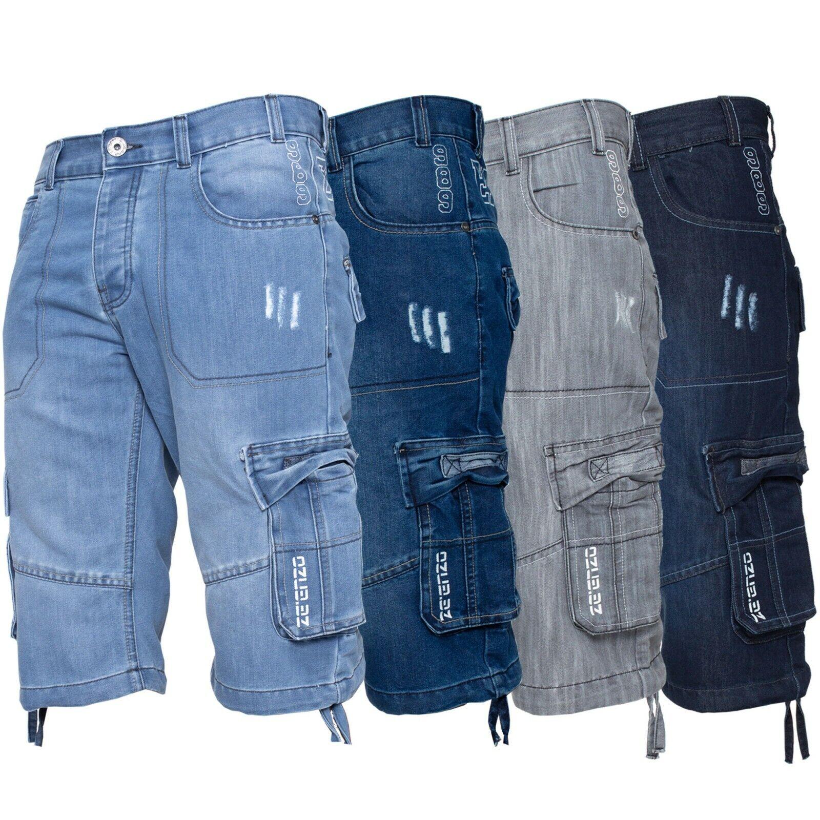 Enzo Jeans Mens Shorts Raw Combat Cargo Pockets Casual Knee