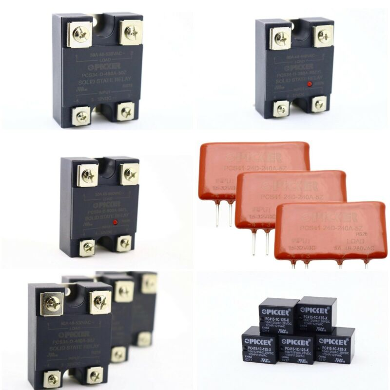 LOT OF 6 PKGS (14) -  PICKER COMPONENTS ELECTROMECHANICAL AND SOLID STATE RELAYS