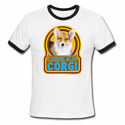 PEMBROKE WELSH CORGI Dog Mens Ladies Ringer T-Shirt Retro Style Gift Birthday