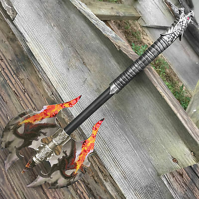 """21"""" :LARGE FANTASY Flame Chase DOUBLE HEAD DRAGON AXE w/plaque"""