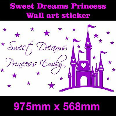 s Fairytale Castle Girls bedroom sticker wall art  +Any Name (Sweet Dream Girls)