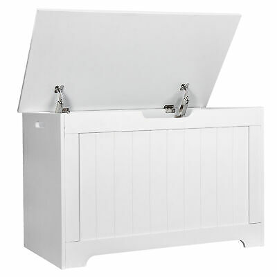 Storage Chest Bench with 2 Safety Hinge Wooden Toy Box  Lift Top Entryway White