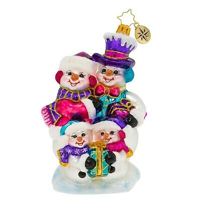[NEW Christopher Radko OUR FESTIVE FROSTY FAMILY Christmas Ornament 1020004</Title]