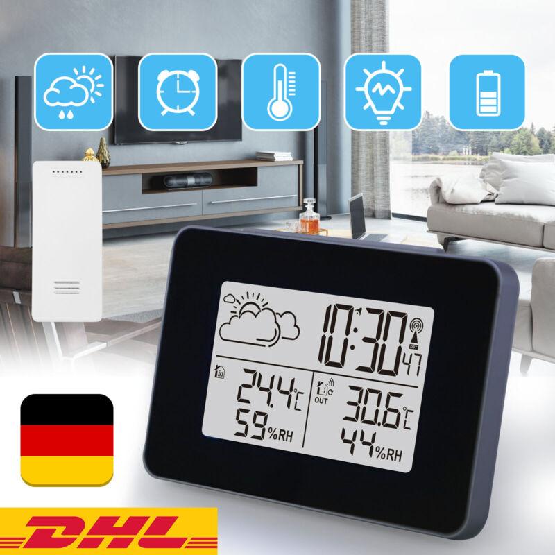 Funkuhr Digitale LCD Wetterstation Thermometer Hygrometer Mit Außensensor Uhr