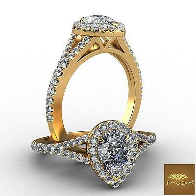 Halo Split Shank Womens Pear Diamond Engagement French U Pave Ring GIA G VS2 1Ct