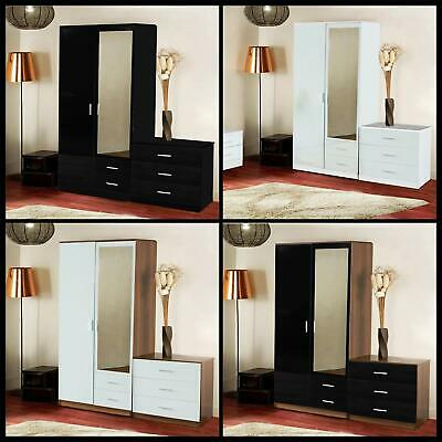 HIGH GLOSS 3 PIECE BEDROOM FURNITURE SET - WARDROBE CHEST BEDSIDE