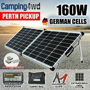 160W 12V Mono Folding Solar Panel Kit Caravan Power battery $199!