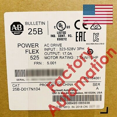 20182019 Us Stock Allen-bradley Powerflex 525 7.5kw 10hp Ac Drive 25b-d017n104