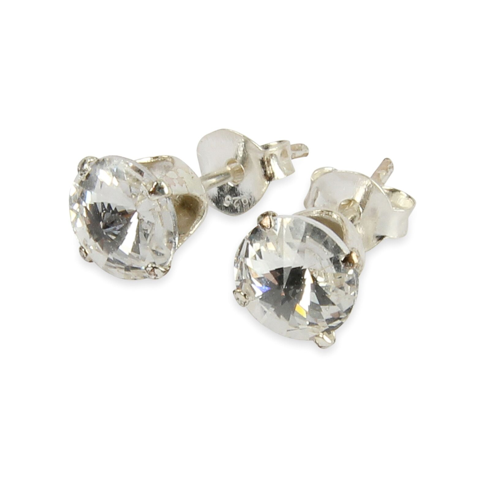 Details About 925 Sterling Silver 6mm Clear Crystal Stud Earrings Made From Swarovski