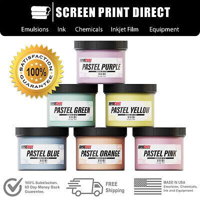 Screen Printing Plastisol Ink Kit - Low Temp Cure 270f - 6 Pastel Colors - 8oz