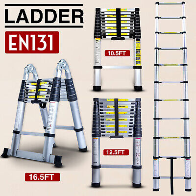 10.512.516.5ft Multipurpose Aluminum Ladder Fold Extend Telescopic Garden Tool