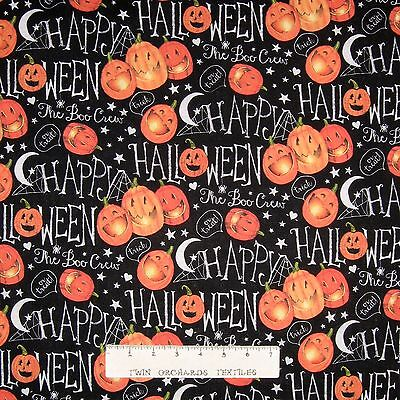 Halloween Fabric - The Boo Crew Pumpkins & Words on Black - Springs - The Words Halloween