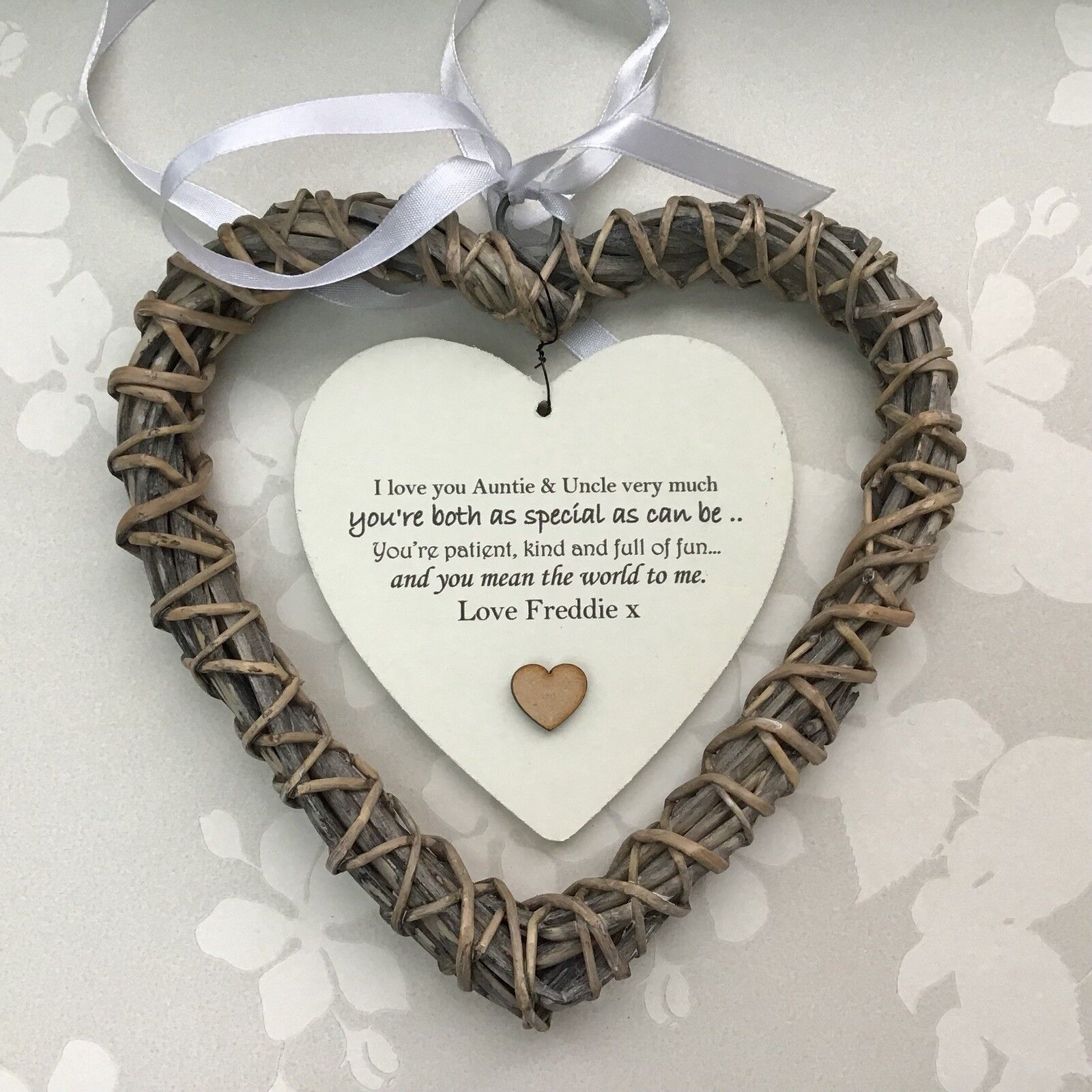 Shabby personalised Chic Special Auntie & Uncle Gift Aunty ANY NAME Willow Heart - 253985014450