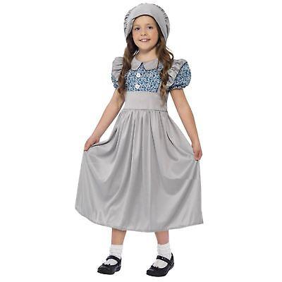 Kids Historical Victorian School Girl Wartime Fancy Dress Book Week Day - School Victorian Day Kostüm