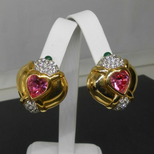 Vintage NOLAN MILLER Clip-On Earrings Pink Crystal Heart Green Cabochons