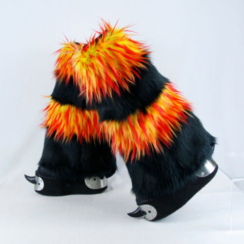 PAWSTAR Furry Leg Warmers - Fluffies Fire Cover Yellow Orange Red [FLAM]2555