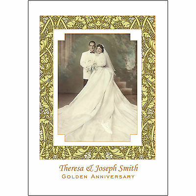 25 Personalized 50th Golden  Anniversary Party Invitations with Photo  - AP-1H
