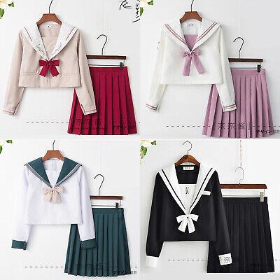 Girls Japanese Cute School Sailor Uniform Dress Skirt Full Set Cosplay Costumes