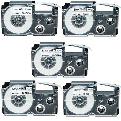 Us Stock 5pk Xr-12we Black On White Label Tape For Casio Ez Printer 12 X 26