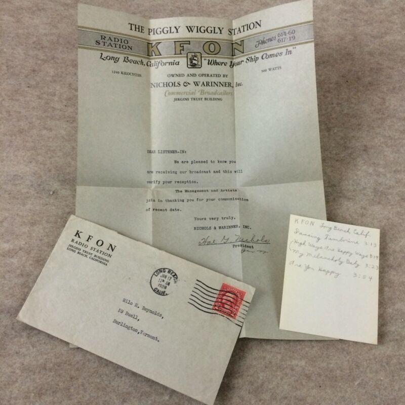 Vtg KFON Letter 1928 Long Beach California Piggly Wiggly Station Radio