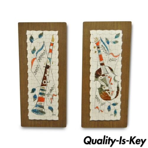 Pair Vintage Andre Mid Century Modernist Abstract Music Instrument Tile Wall Art