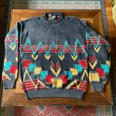 80s Sweatshirts, Sweaters, Vests | Women Vintage, Italian Made COLORE Wool Sweater Blend - Size L - Cosby Sweater 1980s $34.00 AT vintagedancer.com