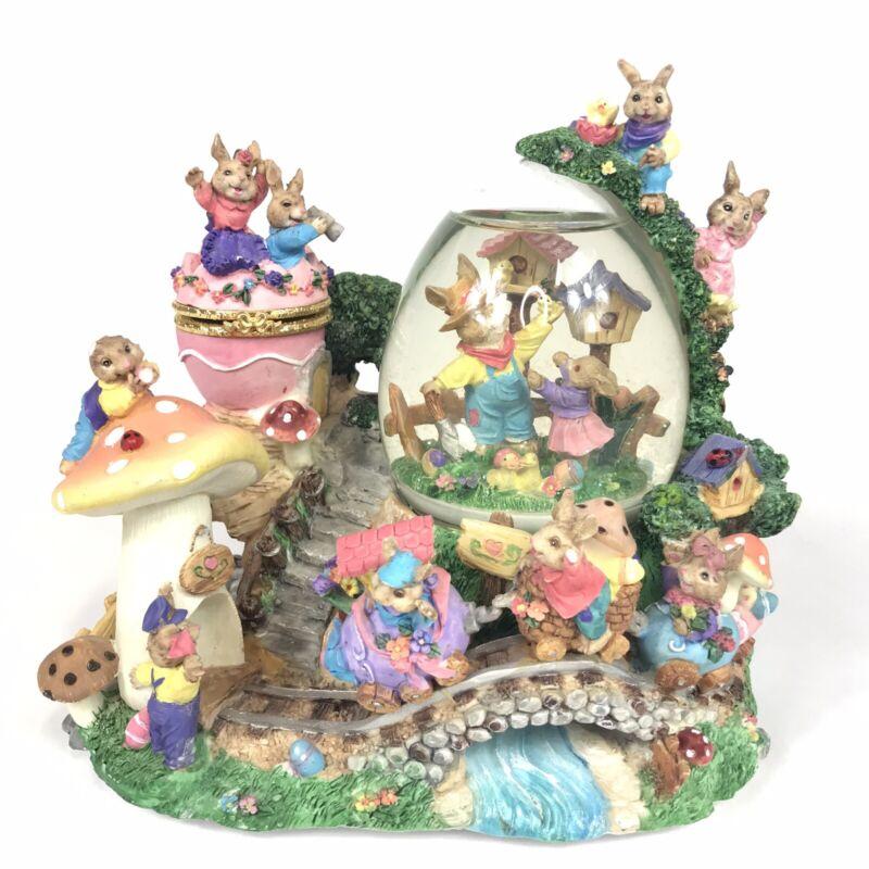 Very Rare Bunny Rabbit Family Musical Motion Snow Globe With Trinket Egg.