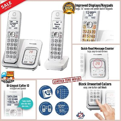 Panasonic Cordless Phone Digital Home Call Block Answering Machine 2 Handsets