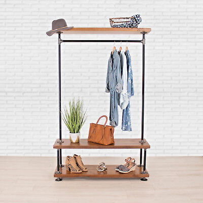Industrial Pipe Clothing Rack With Cedar Wood Shelving William Roberts Vintage