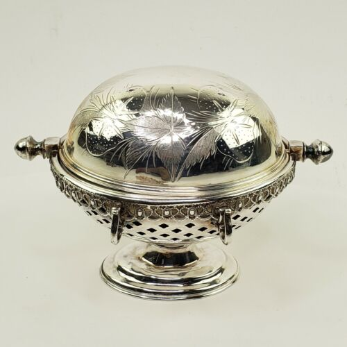 Webster Victorian Silver Plate Rolltop Dome Butter Dish Strawberry Design