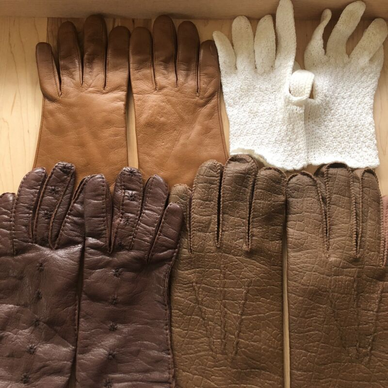 VINTAGE LOT GLOVES LACE LEATHER WWII BROWN WHITE
