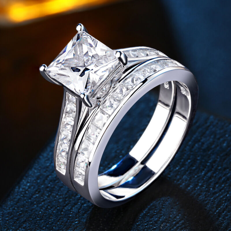 Engagement Wedding Ring Set For Women 1.8ct 925 Sterling Silver Princess Aaaa Cz