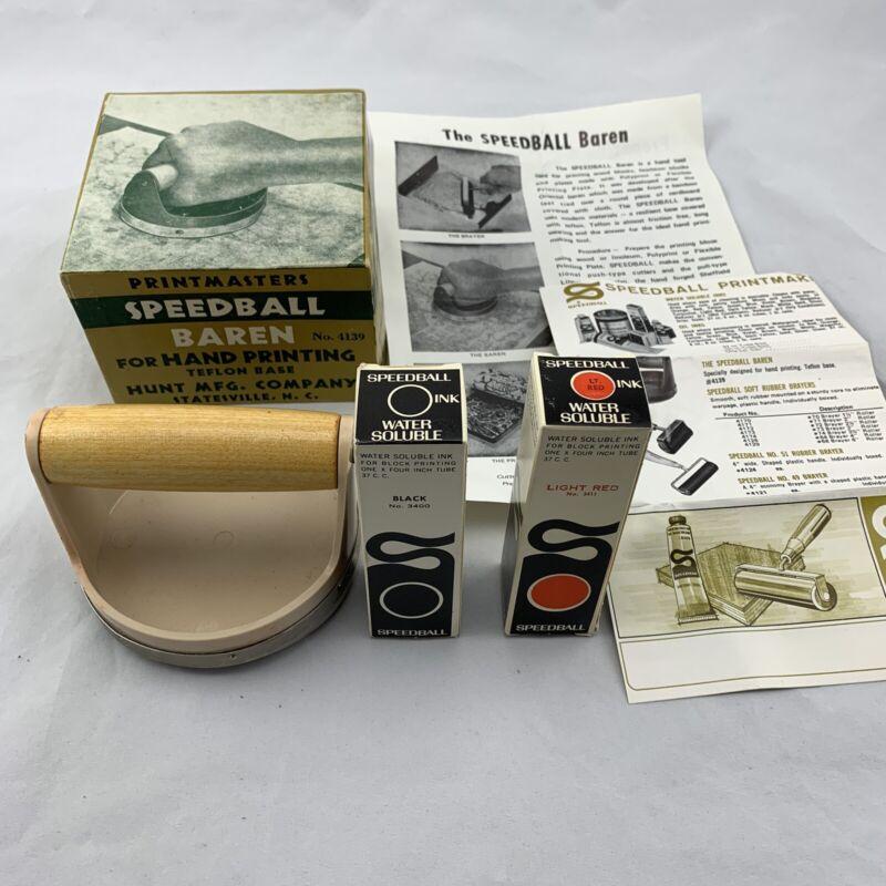 Vintage Speedball Baren 4139 Hand Block Printing With Instructions