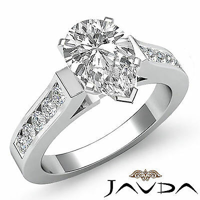 Classic Channel Set Pear Diamond Engagement Ring GIA I Color VS2 Platinum 1.5 ct