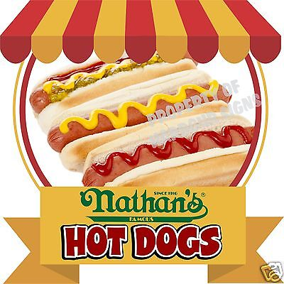 Nathans Hot Dogs Decal 14 Food Truck Concession Cart Cater Restaurant Sticker
