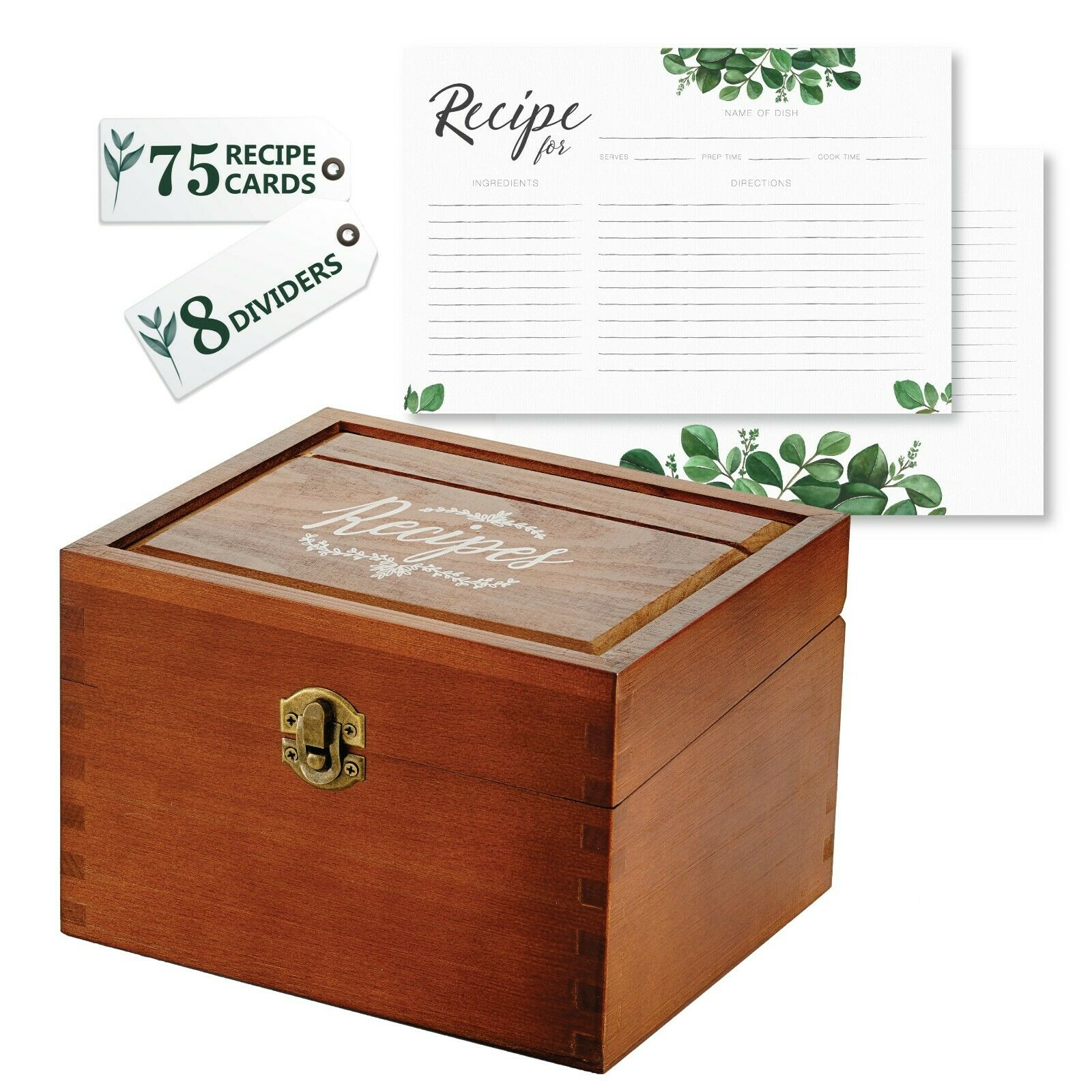 Recipe Card Box Set with 75 4x6 Recipe Cards + 8 Dividers -