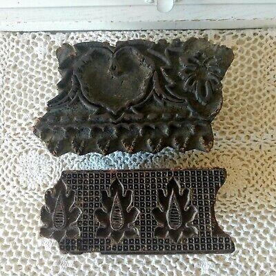 Antique Wood Printing Blocks Floral Leaf Design Handmade Set Of 2