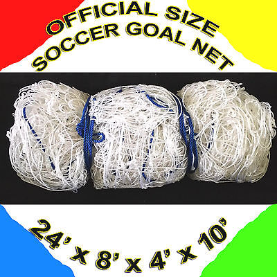 1 WHITE OFFICIAL SIZE 24' x 8' x 4' x 10' SOCCER GOAL NET NETTING