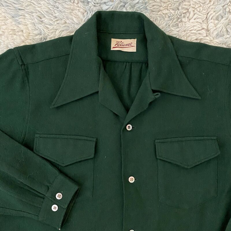Reliance Vintage 50s Medium Green Wool Loop Collar Shirt Rockabilly Square
