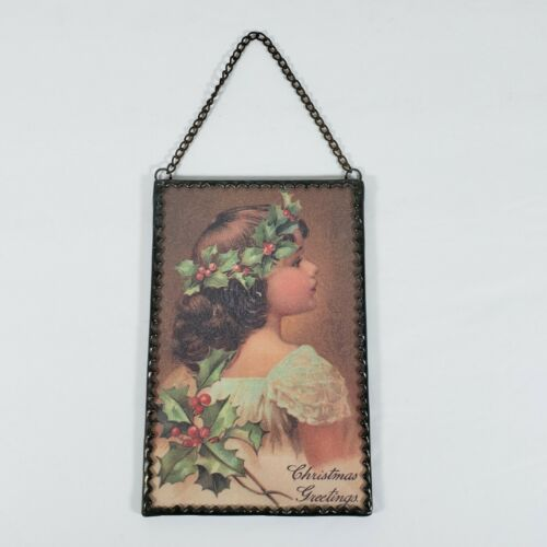 Christmas Greetings Victorian Girl Holly Berries Wall Hanging Postcard Size