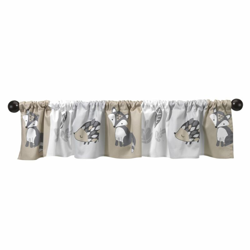 Bedtime Originals Little Rascals Gray/Taupe Animal and Leaf Print Window Valance