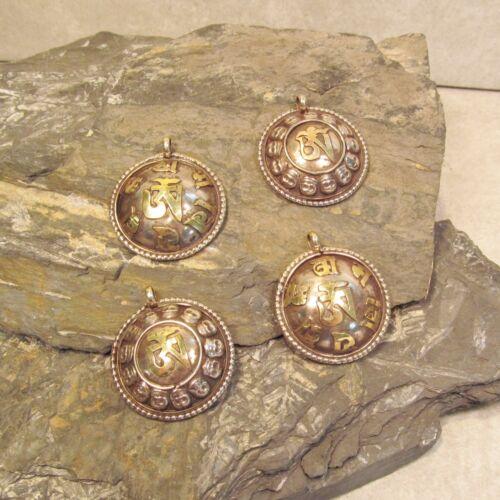 Lot of 4 Tibetan Nepal OM Symbols Handmade Brass Mixed Metal Pendants