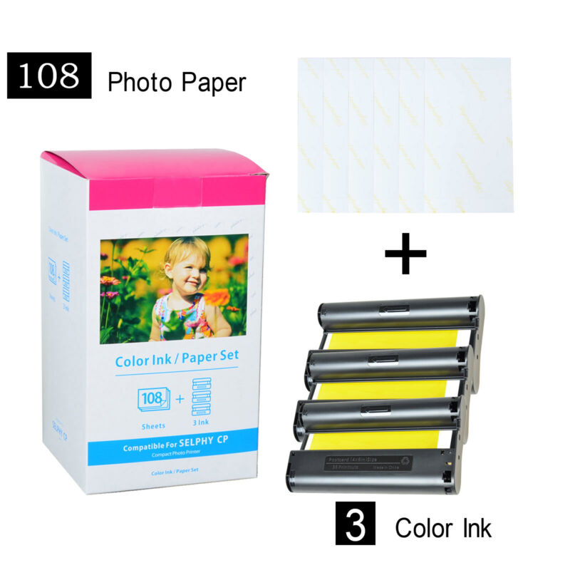 KP-108IN Color 3X Ink & 108 Paper Set for Canon Selphy CP910 CP1200 CP1300