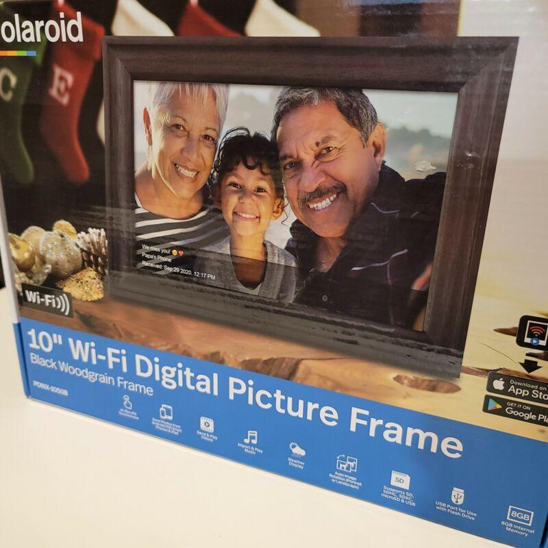 "10"" WiFi Digital Photo Frame Black Woodgrain Frame - Polaroid SHIP PRIORITY MAIL"