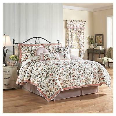 WAVERLY RETWEET BERRY 4PC KING QUILT SET NEW BIRDS FLORAL NEW SHAMS BEDSKIRT