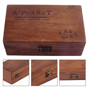 70 x Wooden Rubber Upper Lower case Alphabet Letters Number Stamps Set Retro