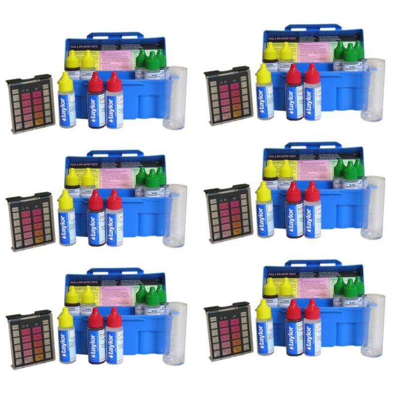 Taylor Swimming Pool & Spa Water 4-In-1 Chlorine Bromine pH Test Kit (6 Pack)