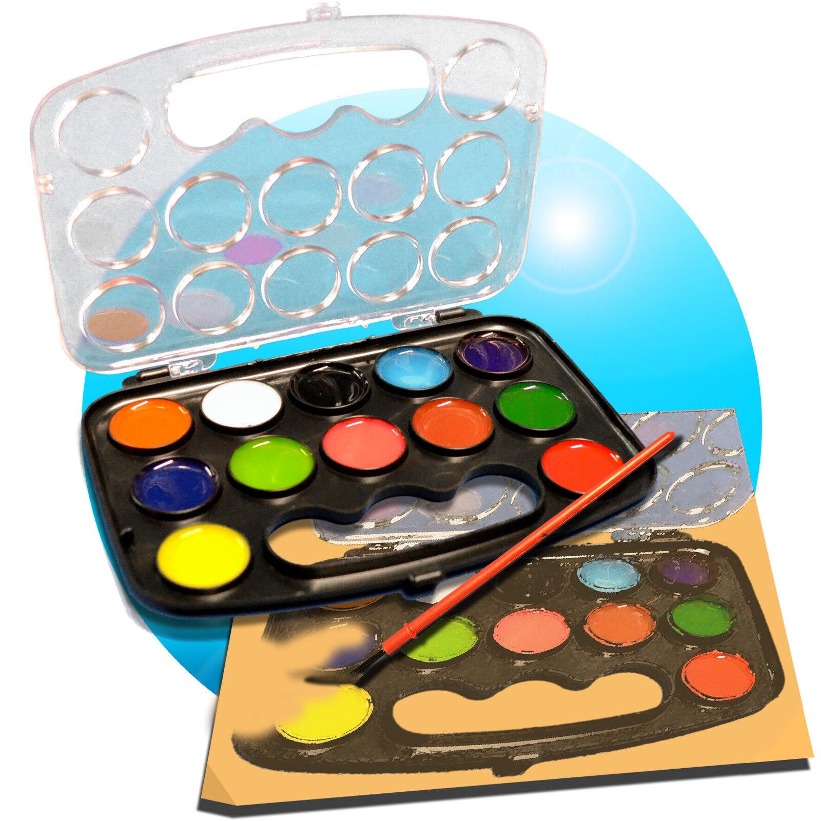 13tlg. Wasserfarbenset Malset Wasserfarben + Pinsel Tuschkasten Deckfarbkasten