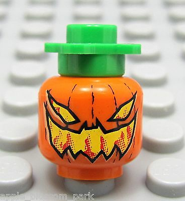 NEW Lego Orange Minifig Evil JACK-O-LANTERN HEAD Halloween Devil Pumpkin w/Stem
